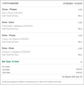 VIP combo bet win ticket